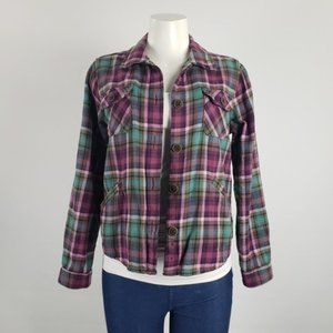 Woolrich Pink & Green Plaid Jacket Size M